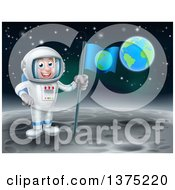 Happy Caucasian Male Astronaut Holding A Flag On The Moon Earth In The Background