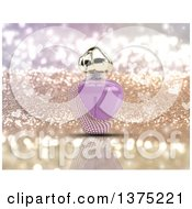 Clipart Of A 3d Purple Floral Perfume Bottle Over Gold Glitter With Hearts Royalty Free Illustration