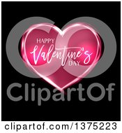Clipart Of A Happy Valentines Day Greeting On A Pink Heart Over Black Royalty Free Vector Illustration