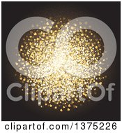 Clipart Of A Circle Made Of Golden Sparkly Hearts On Black Royalty Free Vector Illustration