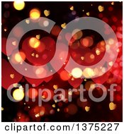 Clipart Of A Background Of Valentine Love Hearts And Bokeh Flares Royalty Free Illustration