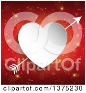 Clipart Of A 3d White Paper Cutout Heart With Cupids Arrow Over Red Stars And Gold Sparkles Royalty Free Vector Illustration