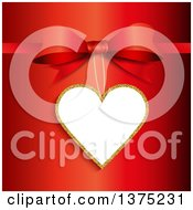 Clipart Of A Gold And White Valentines Day Tag Suspended From A Gift Bow On Red Royalty Free Vector Illustration by KJ Pargeter