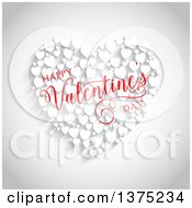 Clipart Of A Happy Valentines Day Greeting Over Red Hearts On Gray Royalty Free Vector Illustration