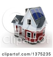 3d House With Solar Panels On The Roof On A White Background