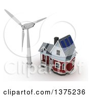 3d House With Solar Panels On The Roof And A Wind Turbine Windmill On A White Background