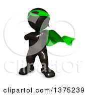 Clipart Of A 3d Black Man Super Hero In A Green Cape On A White Background Royalty Free Illustration