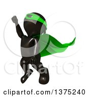 Clipart Of A 3d Black Man Super Hero Flying In A Green Cape On A White Background Royalty Free Illustration