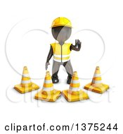 Clipart Of A 3d Black Man Construction Worker Standing Behind Cones On A White Background Royalty Free Illustration