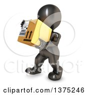 Clipart Of A 3d Black Man Carrying A Box On A White Background Royalty Free Illustration