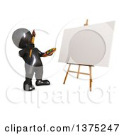 Clipart Of A 3d Black Man Artist Ready To Paint A Canvas On A White Background Royalty Free Illustration by KJ Pargeter