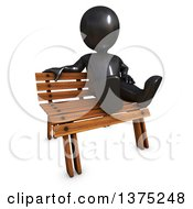 Clipart Of A 3d Black Man Sitting On A Bench On A White Background Royalty Free Illustration