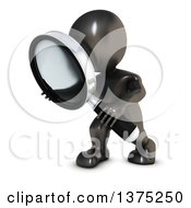 Clipart Of A 3d Black Man Searching With A Magnifying Glass On A White Background Royalty Free Illustration