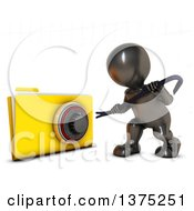 Clipart Of A 3d Black Man Trying To Break Into A Secure Folder With A Pry Bar On A White Background Royalty Free Illustration