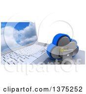 Clipart Of A 3d Cloud Drive Filing Cabinet Icon Resting On A Laptop Computer With A Sky Screen Saver On White Royalty Free Illustration