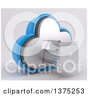 Clipart Of A 3d Cloud Icon With An Empty Open Filing Cabinet On A Shaded Background Royalty Free Illustration
