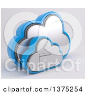Clipart Of A 3d Cloud Icon With A Filing Cabinet On A Shaded Background Royalty Free Illustration