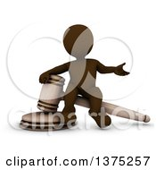 Clipart Of A 3d Brown Man Auctioneer Or Judge Sitting On A Giant Gavel On A White Background Royalty Free Illustration by KJ Pargeter