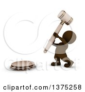 Clipart Of A 3d Brown Man Auctioneer Or Judge Banging On A Giant Gavel On A White Background Royalty Free Illustration by KJ Pargeter