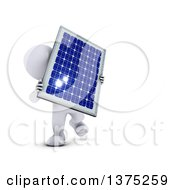 Clipart Of A 3d White Man Holding A Solar Panel On A White Background Royalty Free Illustration