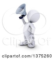 Clipart Of A 3d White Man Announcing With A Megaphone On A White Background Royalty Free Illustration