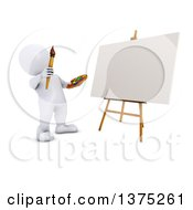 Poster, Art Print Of 3d White Man Artist Ready To Paint A Canvas On A White Background