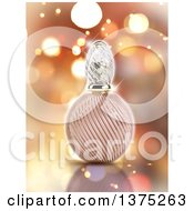 Clipart Of A 3d Perfume Bottle Over Flares Royalty Free Illustration by KJ Pargeter
