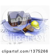Clipart Of A 3d Watercolor Styled Custom Two Story Residential Home A Trowel Bricks And A Hardhat On Top Of Blueprints On A White Background Royalty Free Illustration by KJ Pargeter