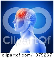 Clipart Of A 3d Anatomical Man With Visible Glowing Frontal Lobe Of His Brain Highlighted Over Blue Royalty Free Illustration