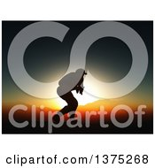 Clipart Of A 3d Silhouetted Soldier In Combat Against A Sunset And Mountains Royalty Free Illustration