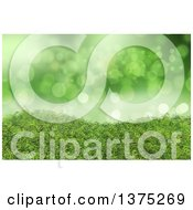 Clipart Of A Background Of 3d Green Grass And Bokeh Lights Royalty Free Illustration