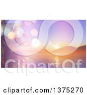 Clipart Of A Background Of A Sunset Over A 3d Bay With Palm Trees Royalty Free Illustration