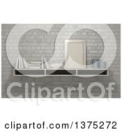 Clipart Of A 3d Shelf With A Frame And Books Against Bricks Royalty Free Illustration by KJ Pargeter