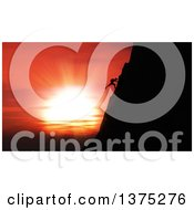 3d Silhouetted Rock Climber Against A Magnificent Sunset Sky