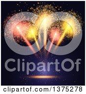 Burst Of Fireworks Over Black And Blue