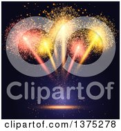 Clipart Of A Burst Of Fireworks Over Black And Blue Royalty Free Vector Illustration by KJ Pargeter
