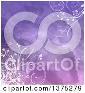Clipart Of A Purple Watercolor Background With Floral White Vines Royalty Free Vector Illustration