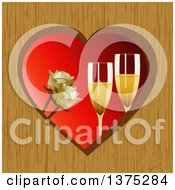 Clipart Of 3d Champagne Glasses And White Roses Inside A Wooden Heart Frame Over Red Royalty Free Vector Illustration by elaineitalia