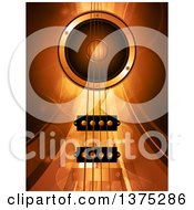 Clipart Of A Background Of 3d Air Bass Guitar Strings And A Music Speaker Over Gold Mesh Waves Lines And Flares Royalty Free Vector Illustration