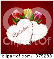 Clipart Of Doily Valentine Hearts With Text And 3d Tulips Over Red Royalty Free Vector Illustration by elaineitalia