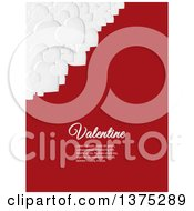 3d Corner Of White Valentine Love Hearts Over Red With Sample Text