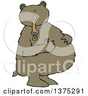 Cartoon Clipart Of A Brown Bear Standing Upright And Resting His Paws On His Full Belly Royalty Free Vector Illustration by djart