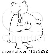 Cartoon Clipart Of A Black And White Bear Standing Upright And Resting His Paws On His Full Belly Royalty Free Vector Illustration