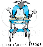 Cartoon Clipart Of A Baby Lamb Sitting In A High Chair And Wearing A Bib Royalty Free Vector Illustration