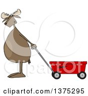 Cartoon Clipart Of A Moose Standing Upright And Pulling A Wagon Royalty Free Vector Illustration
