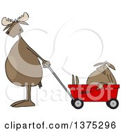 Cartoon Clipart Of A Moose Standing Upright And Pulling A Baby In A Wagon Royalty Free Vector Illustration