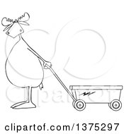 Cartoon Clipart Of A Black And White Moose Standing Upright And Pulling A Wagon Royalty Free Vector Illustration