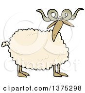 Cartoon Clipart Of A Curly Horned Sheep Royalty Free Vector Illustration