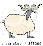 Cartoon Clipart Of A Curly Horned Sheep With A Black Face And Legs Royalty Free Vector Illustration