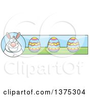 Clipart Of A Happy Chubby White Easter Bunny Banner Royalty Free Vector Illustration